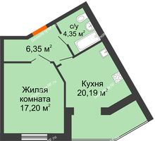 1 комнатная квартира 48,09 м² в ЖК Бунина парк, дом 3 этап, блок-секция 3 С - планировка