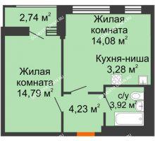 1 комнатная квартира 43,04 м² - ЖК Олимпийский
