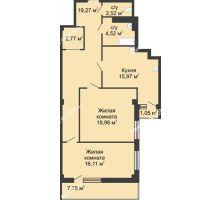 2 комнатная квартира 82,4 м² в  ЖК РИИЖТский Уют, дом Секция 1-2 - планировка