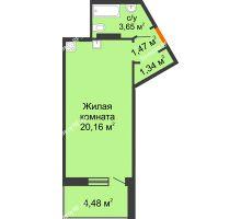 Студия 28,86 м², ЖК Розмарин - планировка