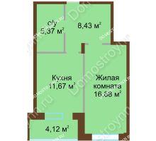 1 комнатная квартира 46,47 м² в ЖК Солнечный город, дом на участке № 208 - планировка
