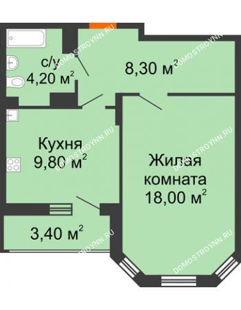 1 комнатная квартира 42 м² в ЖК Цветы, дом № 6-2