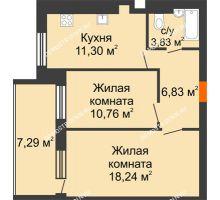 2 комнатная квартира 54,61 м² в ЖК Свобода, дом 1 очередь - планировка