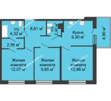 3 комнатная квартира 66,77 м² в ЖК Времена Года, дом № 1