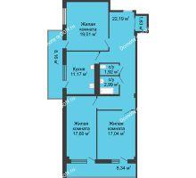 3 комнатная квартира 94,5 м² в  ЖК РИИЖТский Уют, дом Секция 1-2 - планировка