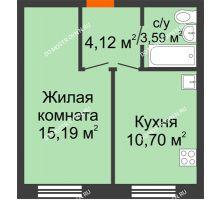 1 комнатная квартира 33,6 м², ЖК Советский - планировка