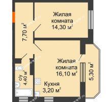 2 комнатная квартира 48,4 м² в ЖК Перспектива, дом Литер 3.5 - планировка