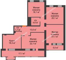 4 комнатная квартира 127,3 м², Жилой дом: ул. Варварская - планировка