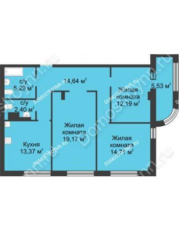 3 комнатная квартира 84,53 м² в ЖК Караваиха, дом № 5
