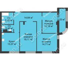 3 комнатная квартира 84,53 м² в ЖК Караваиха, дом № 5 - планировка