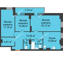 3 комнатная квартира 91,65 м² - ЖК Семейный