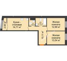 2 комнатная квартира 59,58 м², Клубный дом на Ярославской - планировка