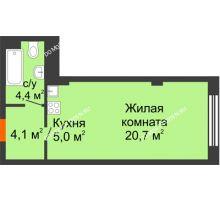 Студия 34,2 м² в ЖК Тихая Гавань на Якорной, дом № 1 - планировка