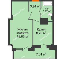 1 комнатная квартира 41,95 м² в ЖК Северный Остров, дом № 6 - планировка