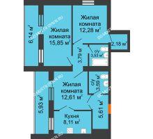 3 комнатная квартира 73,89 м² - ЖК Дом у озера