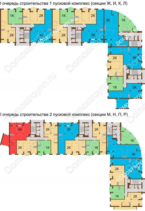 Планировка 14 этажа в доме № 89, корп. 1, 2 в ЖК Монолит