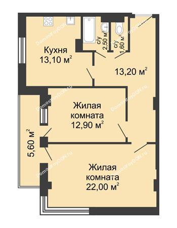 2 комнатная квартира 68,1 м² - ЖК Дом на Береговой