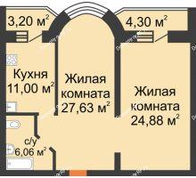 2 комнатная квартира 77,07 м², ЖК На Владимирской - планировка