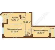 2 комнатная квартира 70,15 м² - ЖК Грани