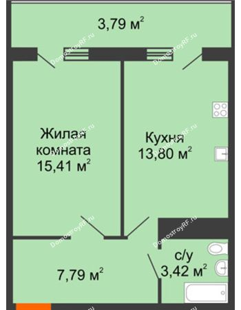 1 комнатная квартира 44,21 м² в ЖК Фамилия, дом Литер 1