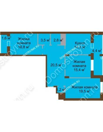 3 комнатная квартира 99,9 м² в ЖК Монолит, дом № 89, корп. 1, 2