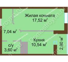 1 комнатная квартира 41,6 м² в ЖК Красная поляна, дом № 8
