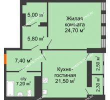 1 комнатная квартира 74,38 м² в ЖК Георгиевский, дом 2а - планировка
