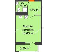 Студия 25,1 м² в ЖК Любимый дом, дом Литер 2 - планировка