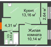 1 комнатная квартира 32,46 м² в ЖК Мозаика Парк, дом ГП-1 - планировка
