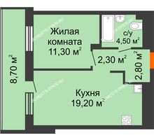 1 комнатная квартира 44,45 м², ЖК Корица - планировка