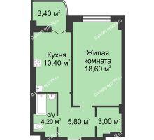 1 комнатная квартира 43,7 м², ЖК 8 марта - планировка