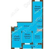 3 комнатная квартира 102,2 м² в ЖК Монолит, дом № 89, корп. 1, 2 - планировка