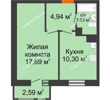1 комнатная квартира 39,15 м² в ЖК Книги, дом № 1 - планировка