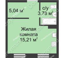 Студия 23,93 м² в ЖК Тридесятое, дом № 23 - планировка