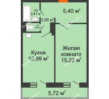 1 комнатная квартира 41,96 м² в ЖК Иннoкeнтьeвcкий, дом № 6