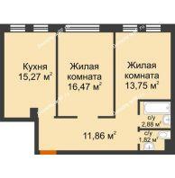 2 комнатная квартира 62,05 м² в ЖК Новоостровский, дом № 2 корпус 1 - планировка