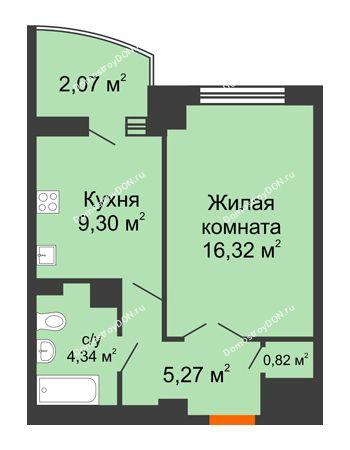 1 комнатная квартира 40,18 м² в ЖК Университетский 137, дом Секция С1
