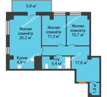 3 комнатная квартира 73,8 м² в ЖК Времена года, дом № 1 - планировка