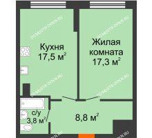1 комнатная квартира 47,4 м² в ЖК Подкова на Родионова, дом № 2 - планировка
