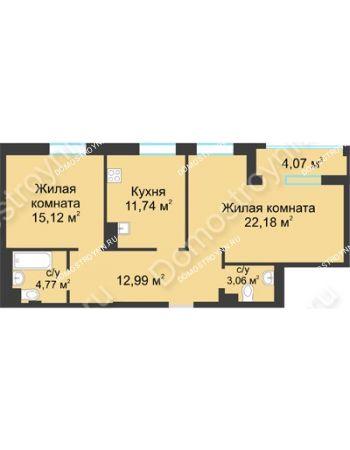 2 комнатная квартира 71,89 м² в ЖК Воскресенская слобода, дом №1
