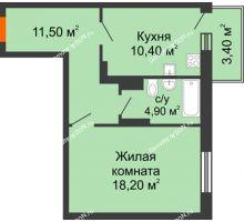 1 комнатная квартира 47,2 м² в ЖК Я, дом  Литер 2 - планировка