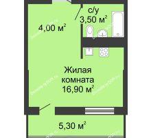 Студия 26,3 м², ЖК Сказка - планировка