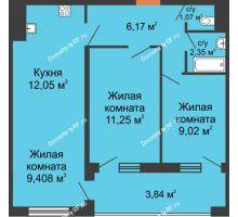 3 комнатная квартира 55,15 м² в ЖК Оникс, дом Литер 4 - планировка