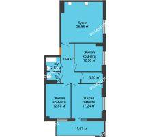 3 комнатная квартира 92,51 м², ЖК Орбита - планировка