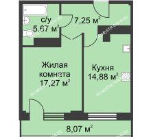 1 комнатная квартира 49,1 м² - ЖК На Ошарской