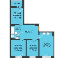 3 комнатная квартира 76,2 м², ЖК Инстеп.Победа - планировка