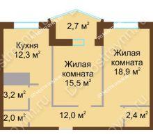 2 комнатная квартира 69 м² в ЖК Монолит, дом № 89, корп. 1, 2 - планировка