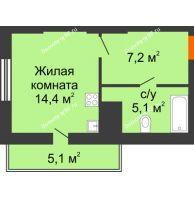 Студия 31,8 м², ЖК Космолет - планировка