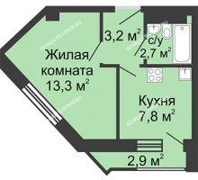 1 комнатная квартира 27 м², Жилой дом: ул. Сазанова, д. 15 - планировка