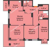 3 комнатная квартира 108,1 м² в ЖК Взлетная 7, дом 1-2 корпус - планировка